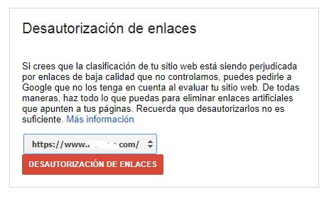 desautorizar enlaces disavow google